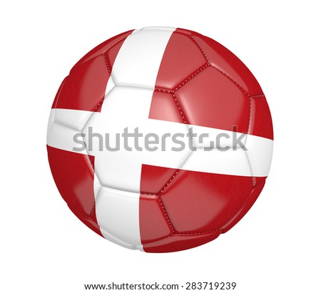 Soccer ball, or football, with the country flag of Denmark - stock photo