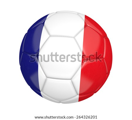Soccer ball, or football, with the country flag of France - stock photo