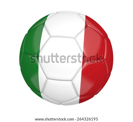 Soccer ball, or football, with the country flag of Italy - stock photo
