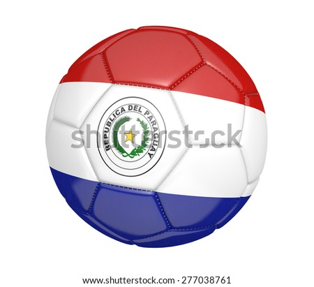 Soccer ball, or football, with the country flag of Paraguay - stock photo