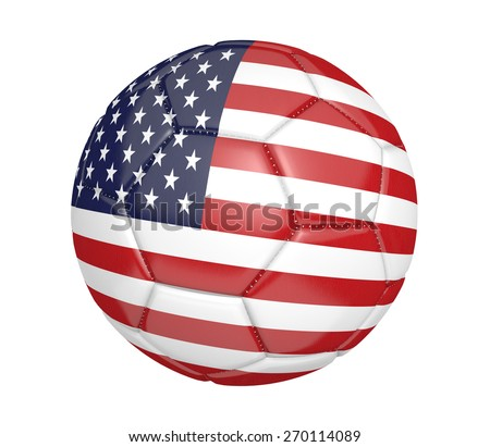 Soccer ball, or football, with the country flag of the United States - stock photo