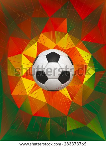 Soccer Ball Over Polygonal Background With National Colors of Portugal - stock photo