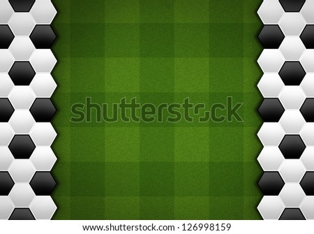 soccer ball pattern on green pattern - stock photo
