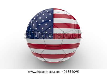 Soccer ball USA flag isolated on white background: 3d rendering - stock photo
