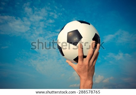 soccer ball  vintage color - stock photo