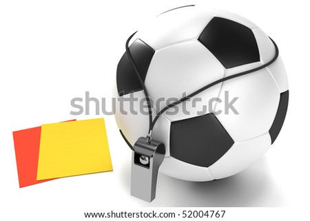 Soccer ball, whistle and cards - stock photo