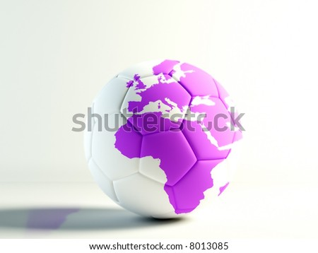 soccer ball with a  world map isolated over white - stock photo