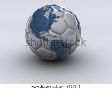 Soccer ball with American continent -  rendered in 3d