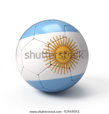 Soccer ball with Argentinean flag isolated on white - stock photo