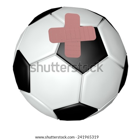 Soccer ball with band aids, 3d render - stock photo