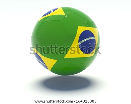 Soccer ball with brazilian flag colors. 3d rendering. Isolated on white background.