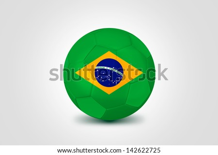 Soccer ball with Brazilian flag isolated on white - stock photo