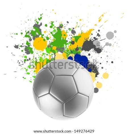 Soccer ball with Brazilian flag splashing colors - stock photo