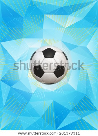 Soccer Ball With Colors of Argentina Over Polygonal Dynamic Background - stock photo