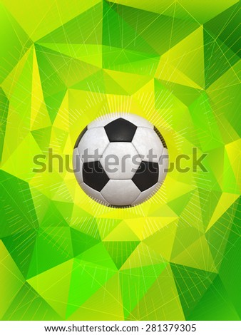 Soccer Ball With Colors of Brazil Flag Over PolygonalDynamic Background - stock photo