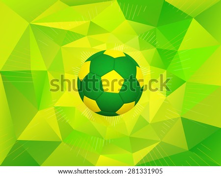 Soccer Ball With Colors of the Brazil Flag Over Polygonal Dynamic Background - stock photo