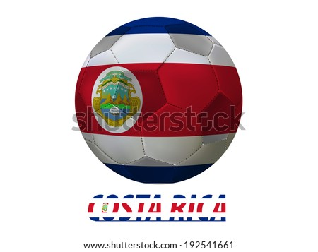 Soccer ball with costa rica flag isolated in white  - stock photo