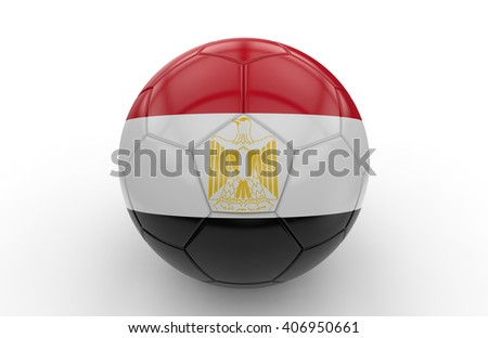 Soccer ball with Egypt flag isolated on white background; 3d rendering - stock photo