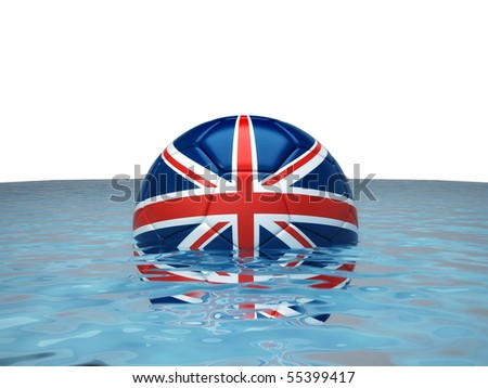 Soccer ball with England flag in water