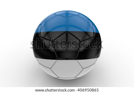 Soccer ball with Estonia flag isolated on white background; 3d rendering - stock photo