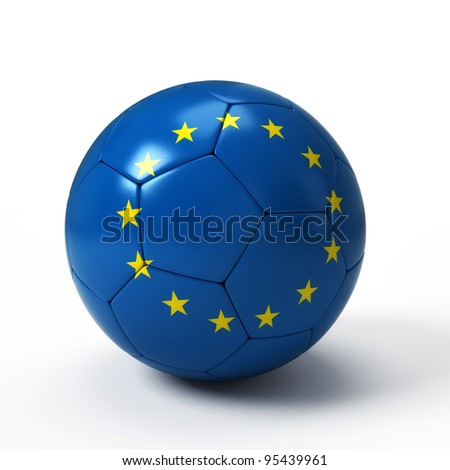 Soccer ball with European flag isolated on white