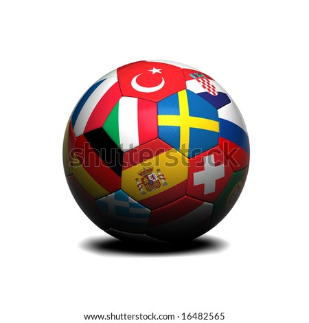 Soccer ball with european flags on it over white background - stock photo