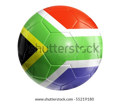 Soccer ball with flag of South Africa on white background - stock photo