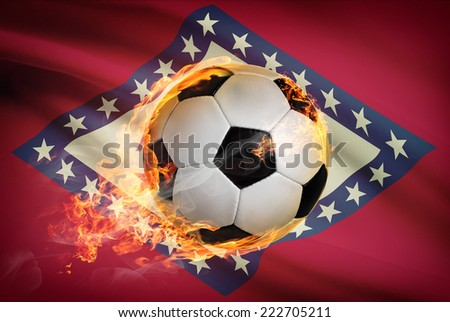 Soccer ball with flag on background series - Arkansas - stock photo