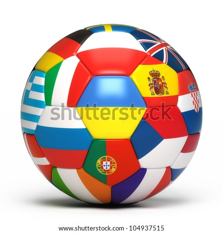 Soccer ball with flags from the countries participating in the euro 2012 cup - stock photo