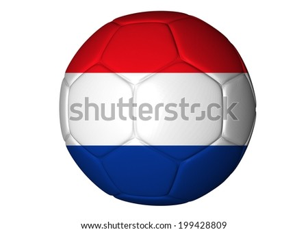Soccer ball with French flag isolated on white - 3d render - stock photo