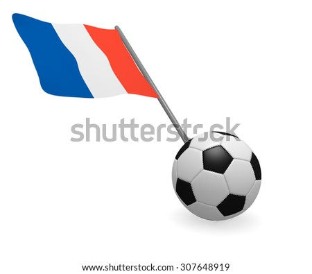 Soccer ball with French flag on a white background - stock photo