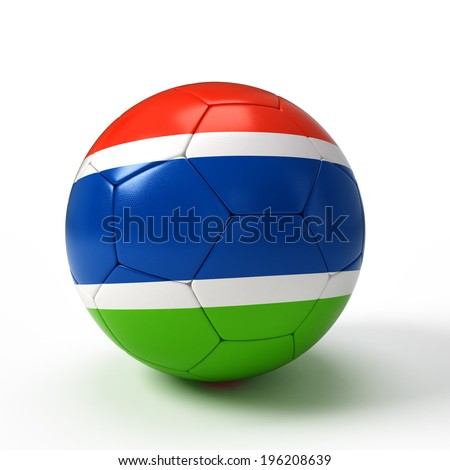 Soccer ball with Gambia Gambian flag isolated on white - stock photo