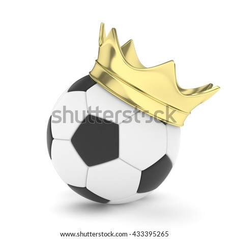 Soccer  ball with golden royal crown is a symbol of competition and winner's trophy on white. 3D rendering. - stock photo