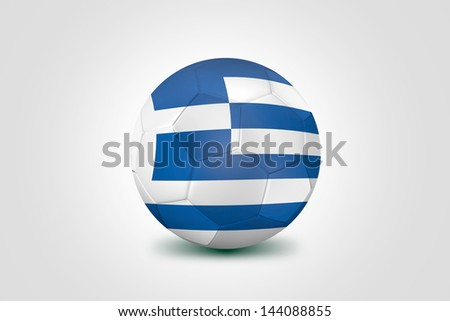 Soccer ball with Greece flag isolated on white