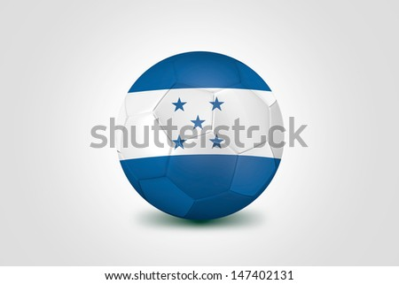 Soccer ball with Honduras flag isolated on white - stock photo