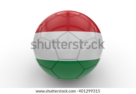 Soccer ball with hungarian flag isolated on white background: 3d rendering - stock photo