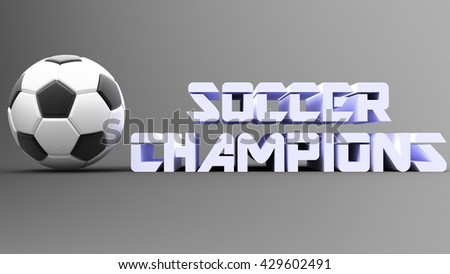 "Soccer ball with logo ""soccer"". 3D illustration. 3D CG. Format 16:9."