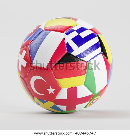 Soccer ball with many flags of Europe (3D Rendering) - stock photo