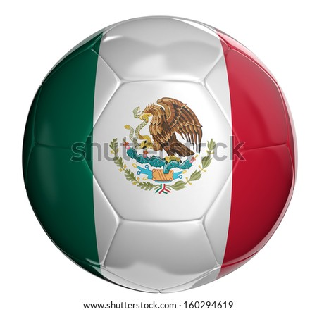 Soccer ball  with Mexican flag  - stock photo