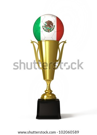 Soccer ball with Mexican flag, on golden trophy cup