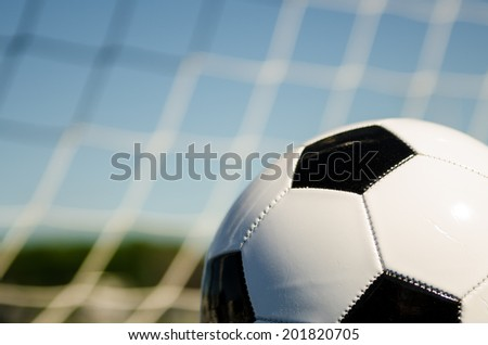 Soccer ball with net  - stock photo