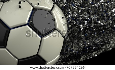 Soccer ball with Particles. 3D illustration. 3D high quality rendering.