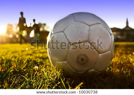 soccer ball with people - stock photo