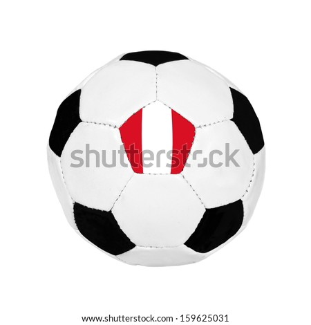 Soccer ball with Peru flag on the surface isolated on white background