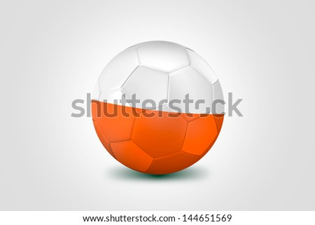 Soccer ball with Poland flag isolated on white