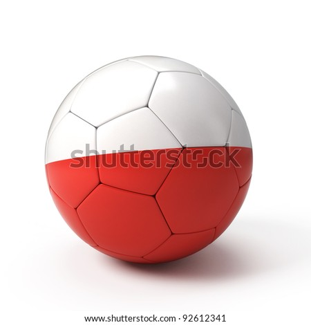 Soccer ball with Polish flag isolated on white - stock photo