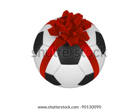 Soccer ball with red Christmas ribbon isolated  on a white background