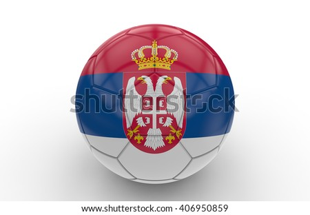 Soccer ball with Serbia flag isolated on white background; 3d rendering