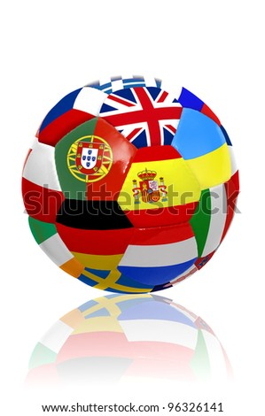 Soccer ball with several  flags for the Euro cup  isolated in white - stock photo