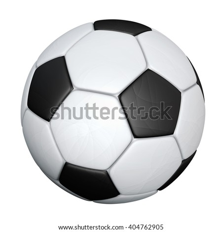 Soccer ball with shadows on green background. 3D rendering.